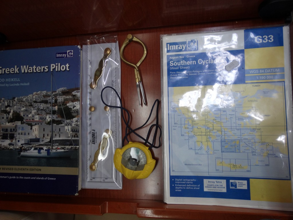 18  greek water pilot, charts, divider, compass, navigation ruler