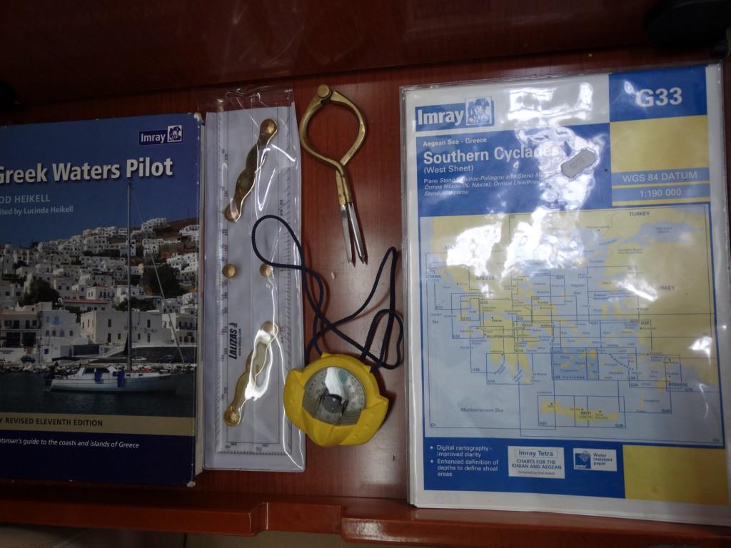 18  greek water pilot, charts, divider, compass, navigation ruler