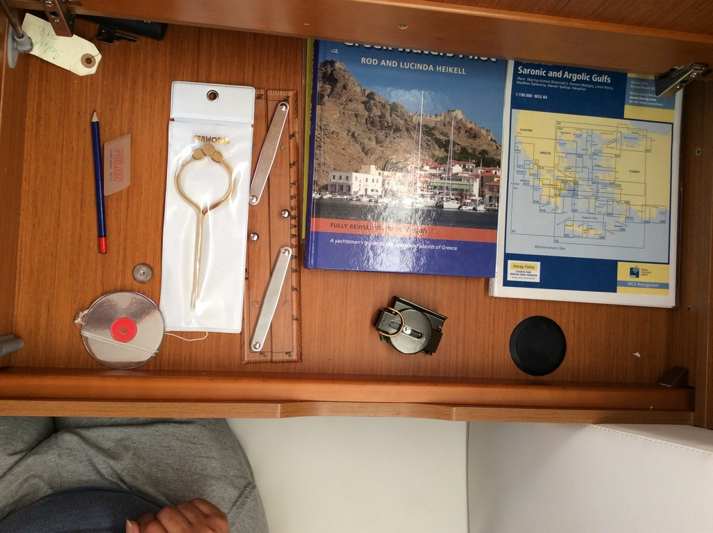 Greek water pilot, charts, divider, compass, navigation ruler