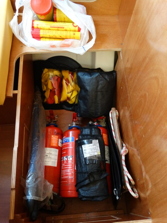 15 fire extinguishers, safety lines,bosun chair, black ball