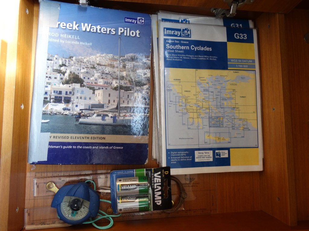 16  greek water pilot, charts, divider, compass, navigation ruler