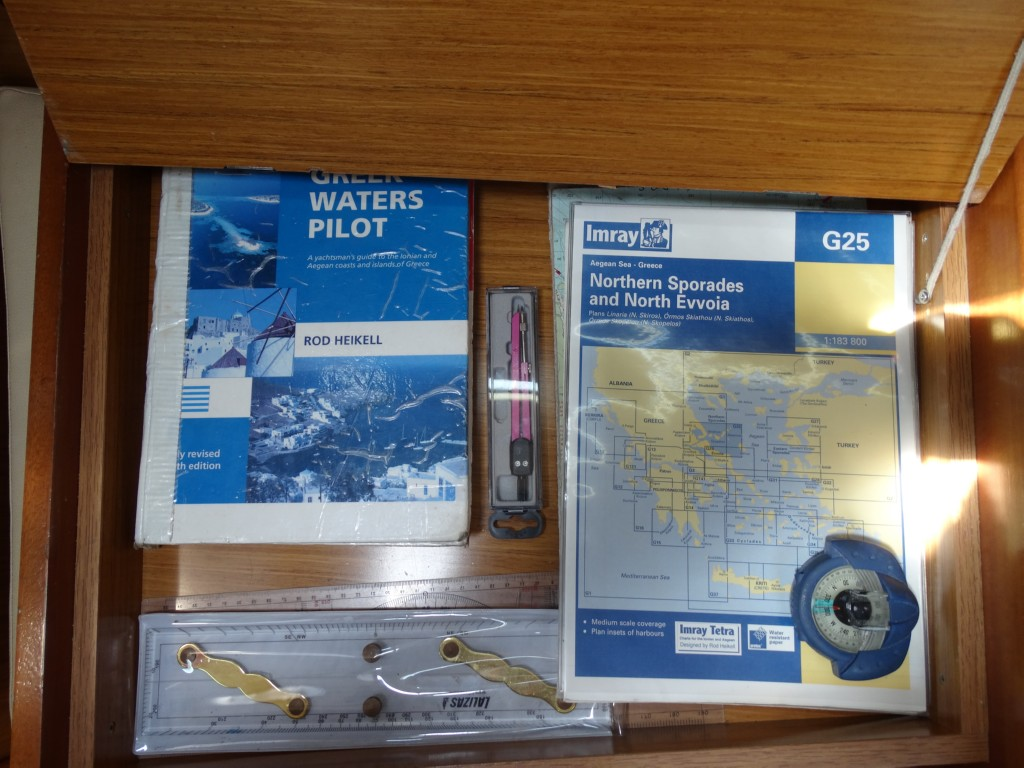 14 greek water pilot, charts, divider, compass, navigation ruler