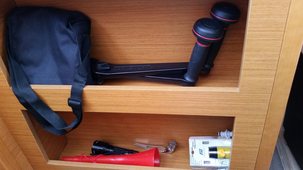 Torch, binoculars,fog horn winch handles