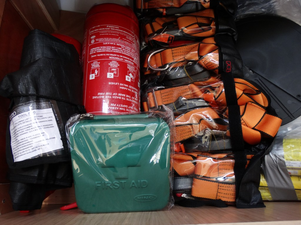 20 17 fire extinguishers, safety lines,bosun chair, black ball,first aid kit