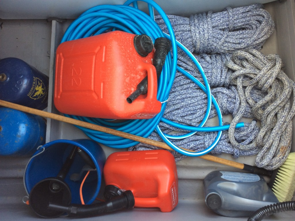 Jerrycan for fuel , engine oil, jerrycan for diesel fuel funnel,bucket,deck brush,ashortment of ropes,water hose,gas