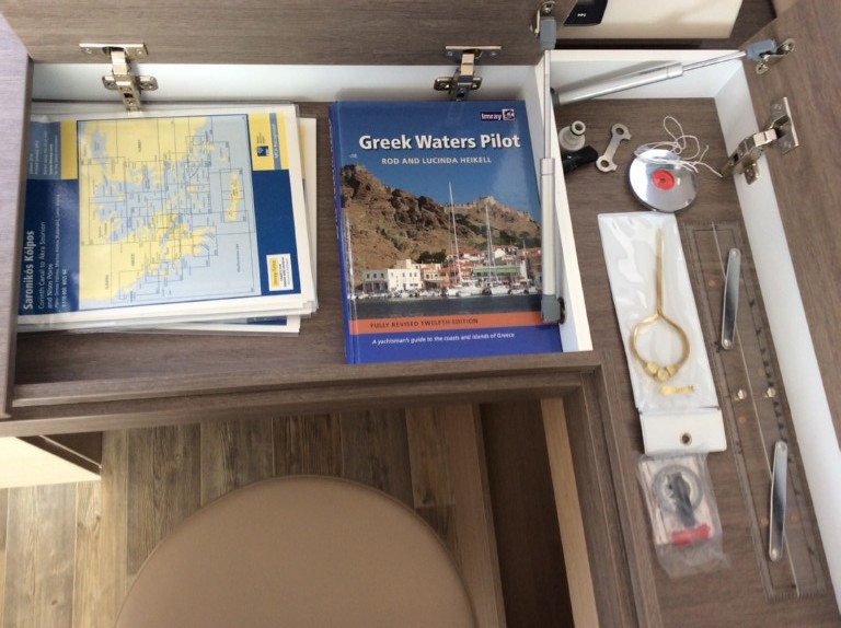 Greek water pilot,maps,handbearing compas,navigation ruler, divider