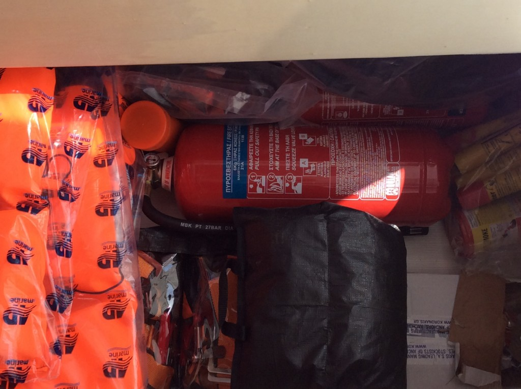 Life jackets, fire extinguishers,life line