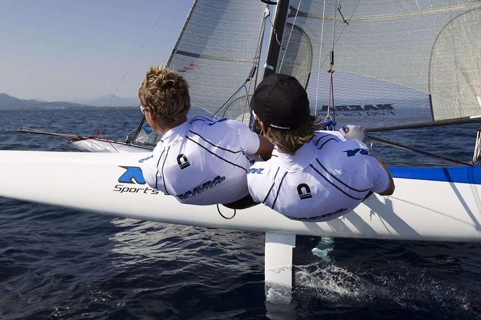 The Nacra F20, foiling catamaran