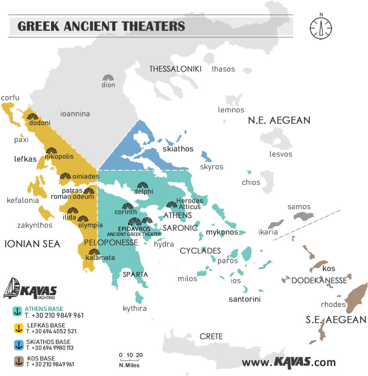 Greek ancient theatres map