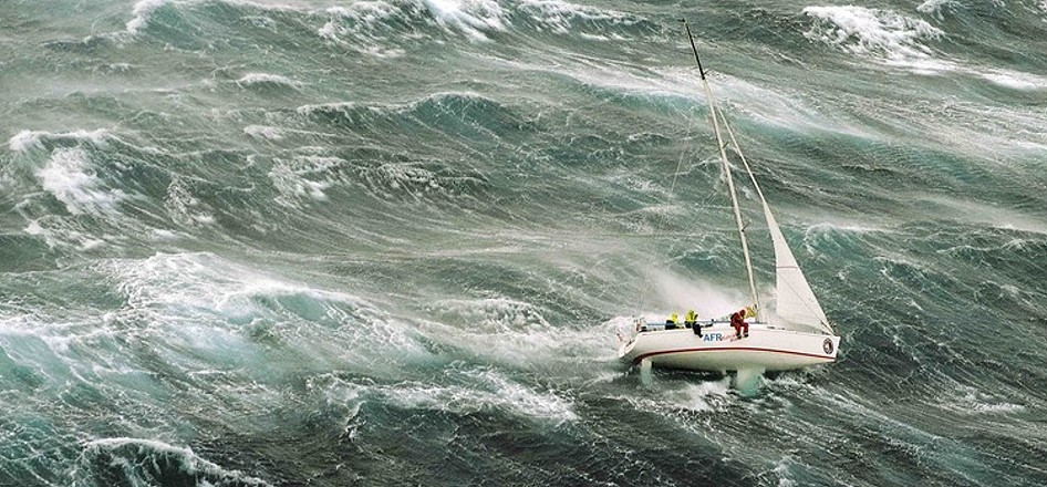 sailing in stormy sea