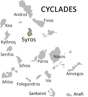 Syros on Cyclades map