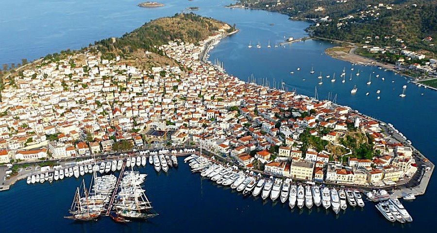 Poros island, aerial photo